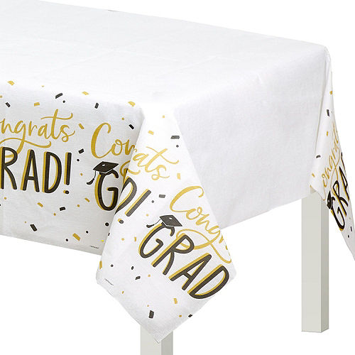 Black & Gold Hats Off Graduation Party Tableware Kit for 64 Guests Image #7