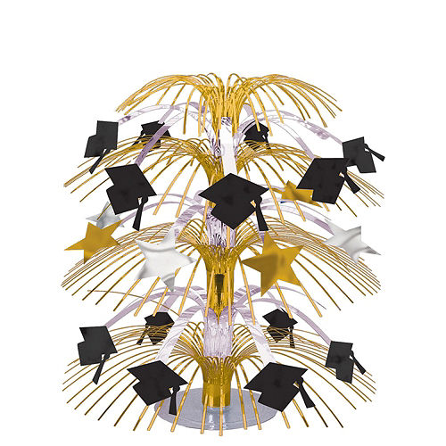 Black & Gold Hats Off Graduation Party Tableware Kit for 64 Guests Image #9