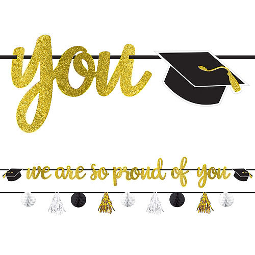 Black & Gold Hats Off Graduation Party Tableware Kit for 64 Guests Image #10