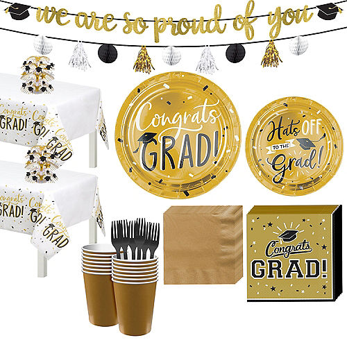 Black & Gold Hats Off Graduation Party Tableware Kit for 32 Guests Image #1