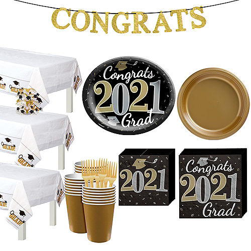 Black, Gold, & Silver Congrats 2021 Graduation Party Tableware Kit for 72 Guests Image #1