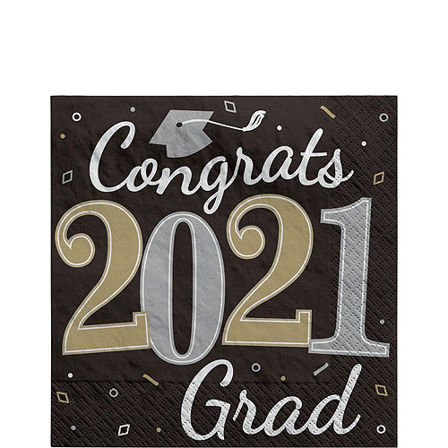 Black, Gold, & Silver Congrats 2021 Graduation Party Tableware Kit for 72 Guests Image #5