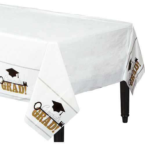 Black, Gold, & Silver Congrats 2021 Graduation Party Tableware Kit for 72 Guests Image #7