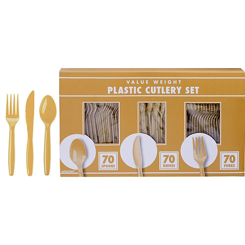Black, Gold, & Silver Congrats 2021 Graduation Party Tableware Kit for 72 Guests Image #8
