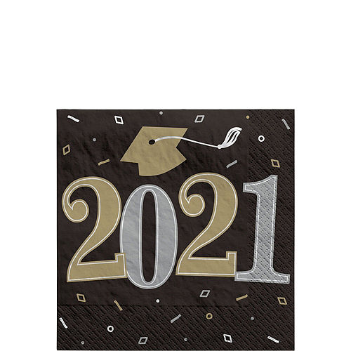 Black, Gold, & Silver Congrats 2021 Graduation Party Tableware Kit for 36 Guests Image #4