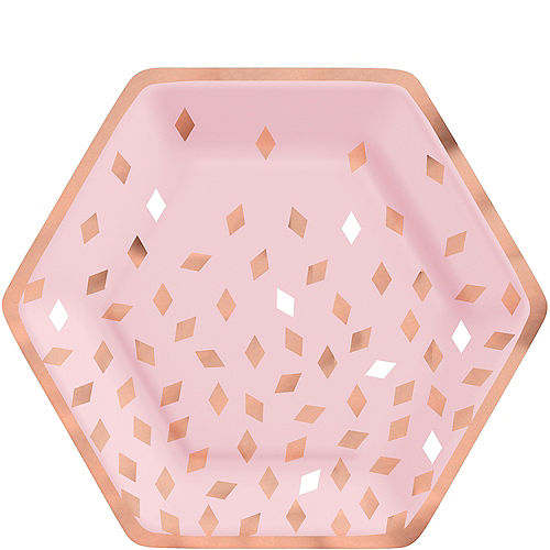 Metallic Blush Birthday Hexagon Lunch Plates, 9in, 8ct Image #1