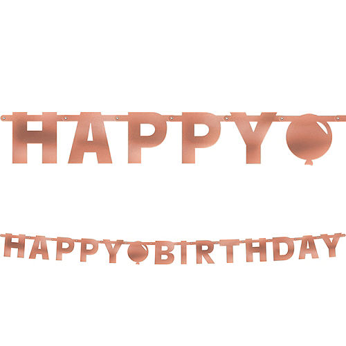 Metallic Blush Happy Birthday Banner Image #1