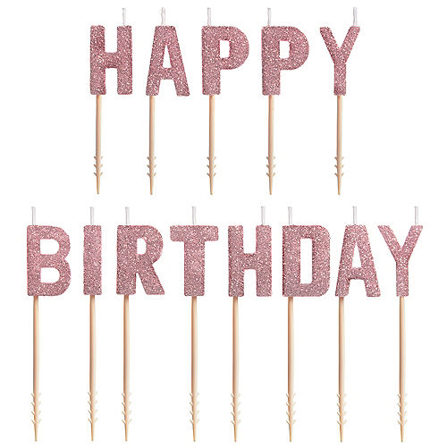 Glitter Blush Happy Birthday Toothpick Candle Set 13pc Image #1