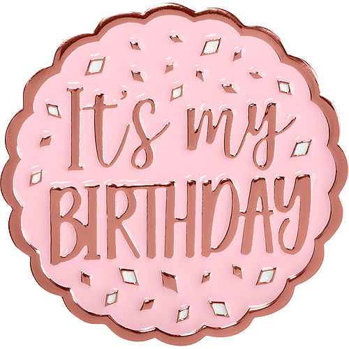 Metallic Blush It's My Birthday Enamel Pin Image #1