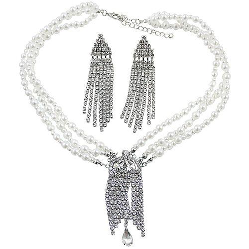 Silver & White Jeweled Flapper Jewelry Kit, 3pc Image #1
