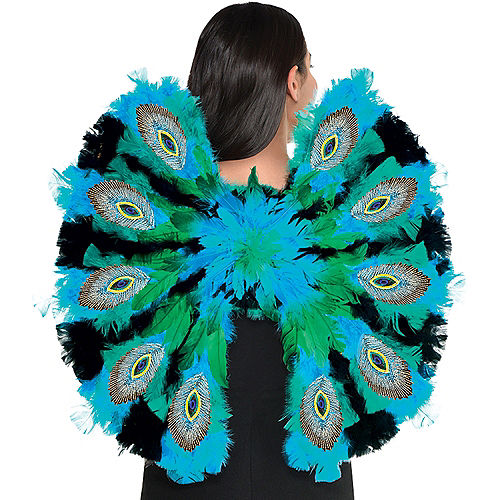 Peacock Faux Feather Wings Image #1