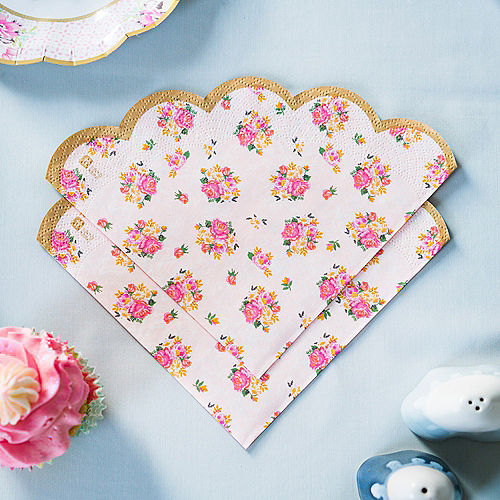 Floral Tea Party Scalloped Lunch Napkins 20ct Image #3
