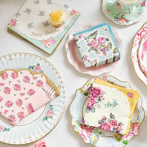 Floral Tea Party Scalloped Lunch Napkins 20ct Image #4