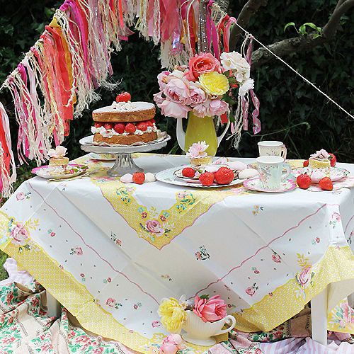 Floral Tea Party Paper Table Cover Image #4