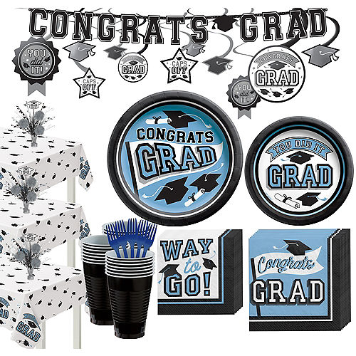 Super Congrats Grad Powder Blue Graduation Party Kit for 54 Guests Image #1