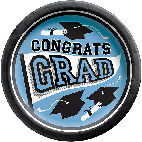 Super Congrats Grad Powder Blue Graduation Party Kit for 54 Guests Image #3