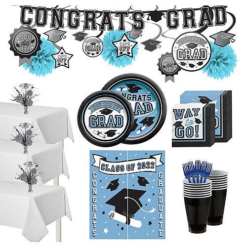 Congrats Grad Pastel Blue Graduation Party Kit for 100 Guests Image #1