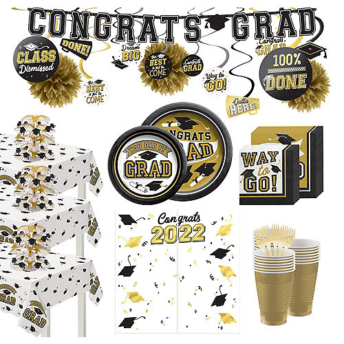 Congrats Grad Gold Graduation Party Kit for 100 Guests Image #1