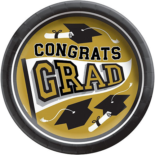 Congrats Grad Gold Graduation Party Kit for 100 Guests Image #3