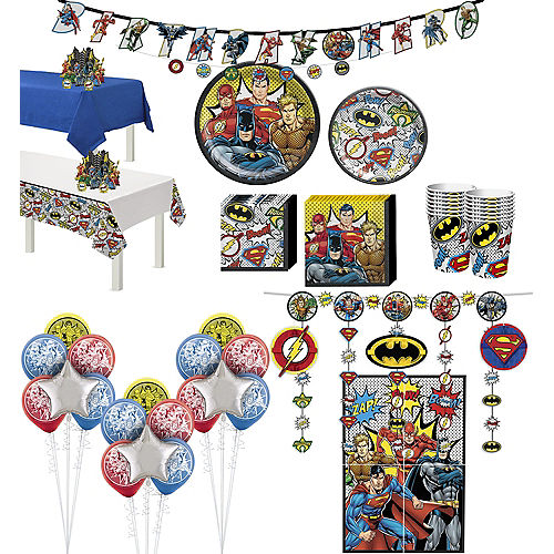 Justice League Heroes Unite Ultimate Tableware Kit for 16 Guests Image #1