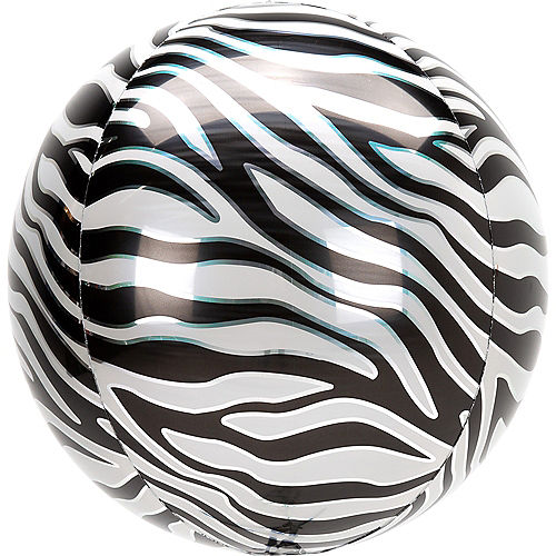 Zebra Print Balloon, 15in x 16in - Animalz Orbz Image #1