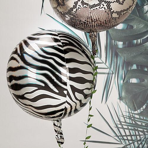 Zebra Print Balloon, 15in x 16in - Animalz Orbz Image #2