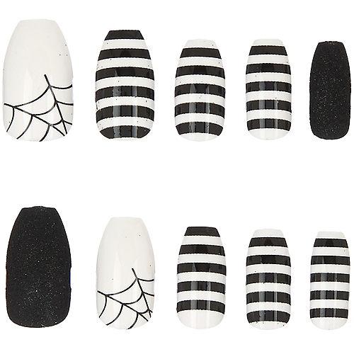 Black & White Striped Spiderweb Nails, 24ct Image #1