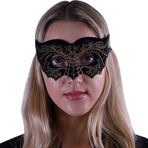 Black & Gold Spiderweb Domino Mask Image #2