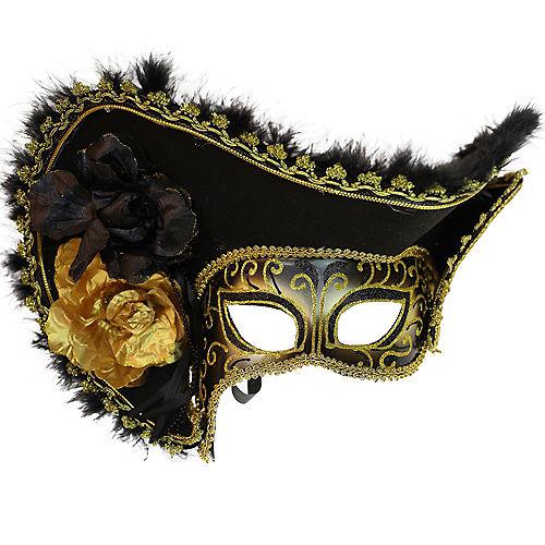 Black & Gold Pirate Queen Masquerade Mask Image #1