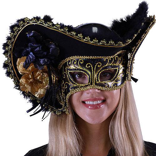 Black & Gold Pirate Queen Masquerade Mask Image #2