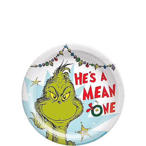 He's a Mean One Paper Dessert Plates, 7in, 8ct - Dr. Seuss Image #1