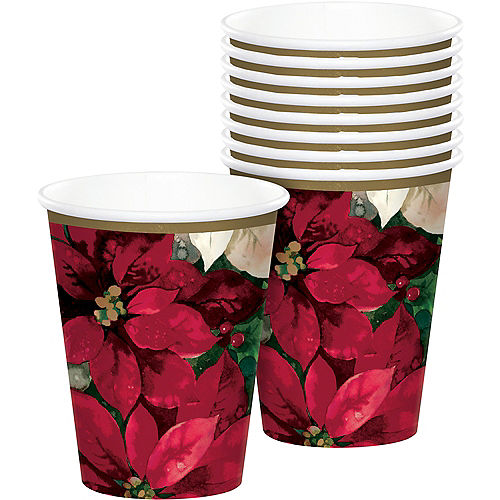 Christmas Poinsettia Paper Cups, 9oz, 60ct Image #1