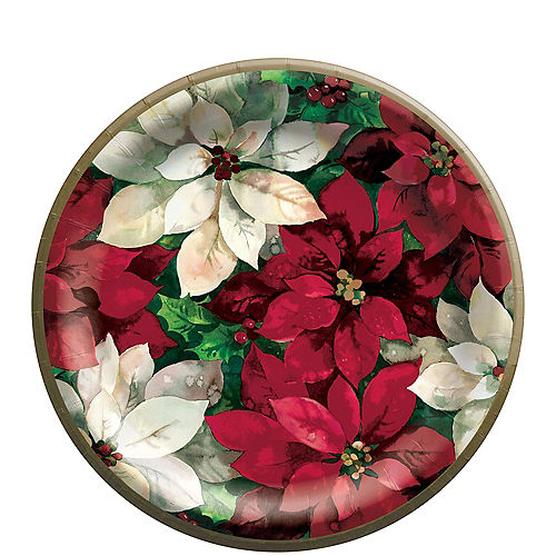 Christmas Poinsettia Lunch Plates, 8 1/2in, 60ct Image #1