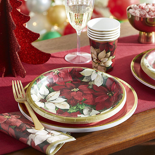 Christmas Poinsettia Lunch Plates, 8 1/2in, 60ct Image #2