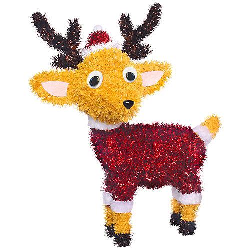 3D Tinsel Reindeer with Santa Hat Image #1
