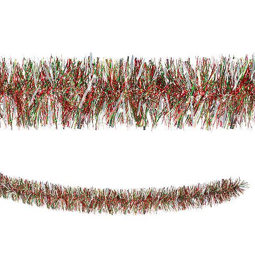 Green, Red & Silver Tinsel Boa Garland Image #1