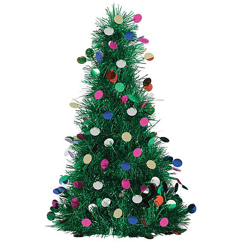 Large Tinsel Tree with Ornaments Image #1