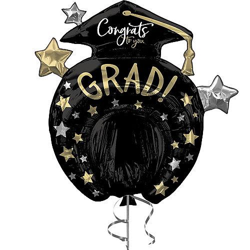 Black, Silver & Gold Star Congrats Grad Balloon Pinata, 29in x 30in Image #1