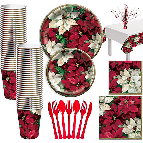 Christmas Poinsettia Tableware Kit for 100 Guests Image #1
