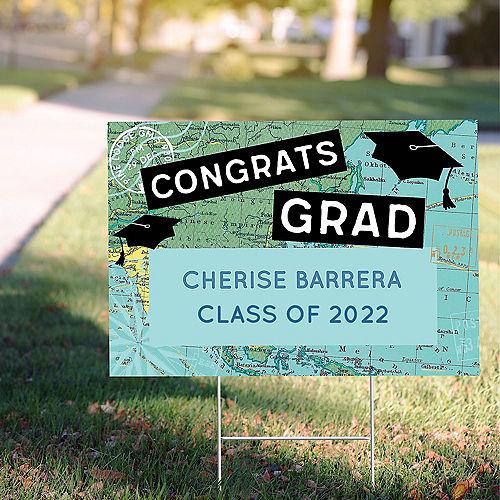 Custom The World Awaits Graduation Yard Sign Image #1