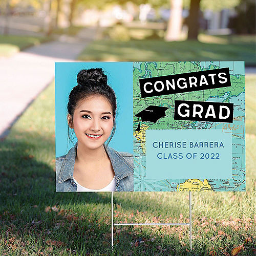 Custom The World Awaits Graduation Photo Yard Sign Image #1