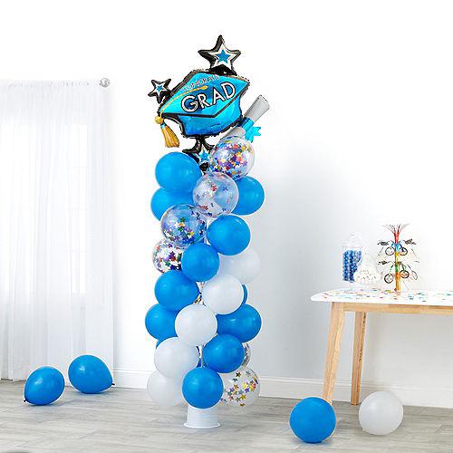 Air-Filled Graduation Blue & Multicolor Star Balloon Column Kit Image #1