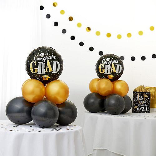 Air-Filled Congrats Grad Black & Gold Balloon Centerpiece Kit Image #1