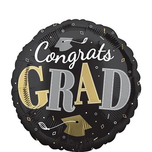 Air-Filled Congrats Grad Black & Gold Balloon Centerpiece Kit Image #3