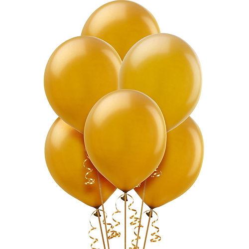 Air-Filled Graduation Cap Black & Gold Balloon Centerpiece Kit Image #2