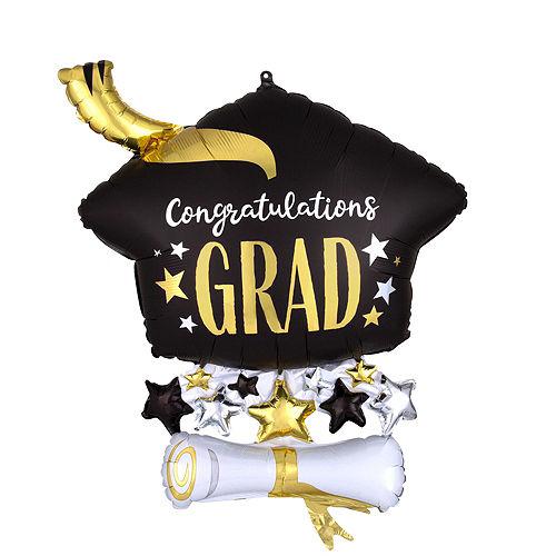Air-Filled Graduation Cap Black & Gold Balloon Centerpiece Kit Image #3