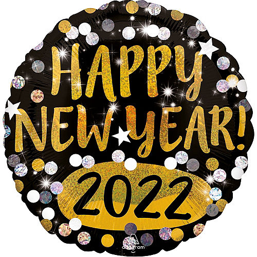 Prismatic Happy New Year 2021 Balloon, 18in Image #1
