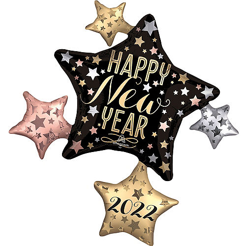 Giant Black, Gold & Rose Gold Happy New Year 2021 Star Cluster Balloon, 35in Image #1