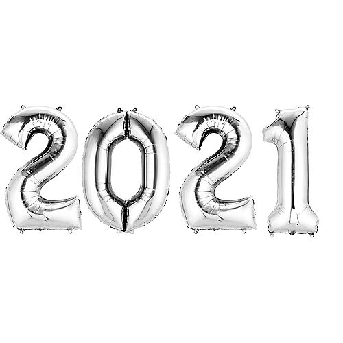 Giant Silver 2021 Balloons, 35in, 4pc Image #1