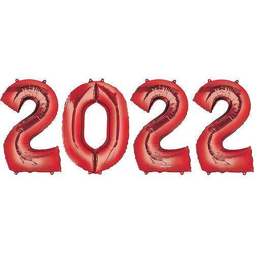 Giant Red 2021 Balloons, 35in, 4pc Image #1